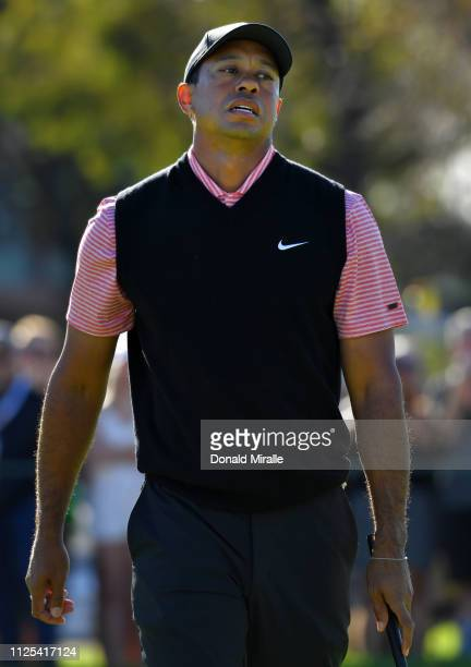 Tiger Woods reacts to his putt on the South Course during the final round of the the 2019 Farmers Insurance Open at Torrey Pines Golf Course on...