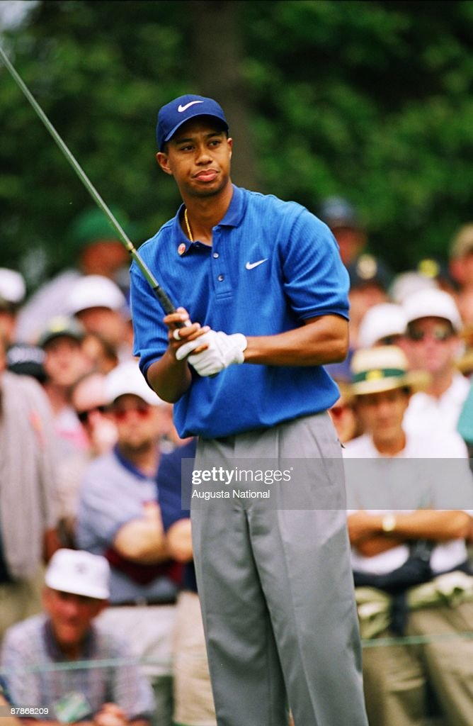 Tiger Woods reacts to his shot during the 1997 Masters Tournament at Augusta National Golf Club in April in Augusta, Georgia.