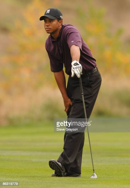 Tiger Woods reacts to his shot from the 16th fairway during the first round of the Target World Challenge Presented by Countrywide at the Sherwood...