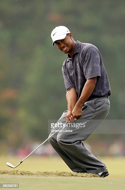 Tiger Woods reacts to missing a chip shot during the third round of the PGA Tour Championship on November 5 2005 at East Lake Golf Club in Atlanta...