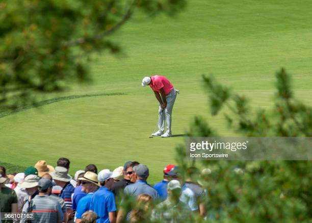 Tiger Woods reacts to missing a putt during the third round of the Memorial Tournament at Muirfield Village Golf Club in Dublin Ohio on June 02 2018