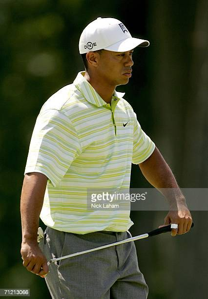 Tiger Woods reacts to missing his par putt on the fifth hole during the first round of the 2006 US Open Championship at Winged Foot Golf Club on June...
