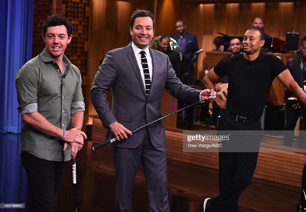 "Tiger Woods & Rory Mcllroy Visit ""The Tonight Show Starring Jimmy Fallon"" : News Photo"