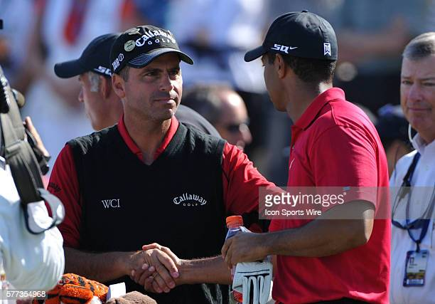 Tiger Woods shakes Rocco Mediate's hand at the start of the 108th US Open Championship playoff round at Torrey Pines South Golf Course in San Diego CA