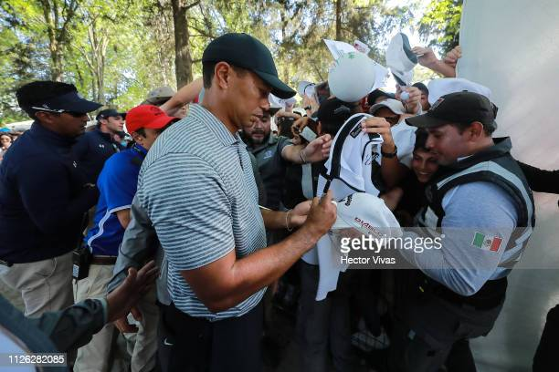 Tiger Woods signs autographs during the practice round of World Golf ChampionshipsMexico Championship at Club de Golf Chapultepec on February 20 2019...