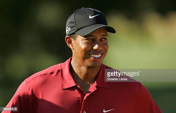 Tiger Woods smiles after his twostroke victory at the 89th PGA Championship at the Southern Hills Country Club on August 12 2007 in Tulsa Oklahoma