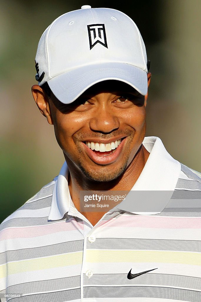 Tiger Woods smiles during a practice round prior to the 2010 Masters Tournament at Augusta National Golf Club on April 5, 2010 in Augusta, Georgia.