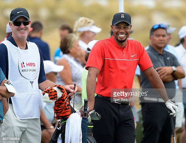 Tiger Woods smiles on the practice range during the final round of the Hero World Challenge at Albany course on December 4 2016 in Nassau Bahamas