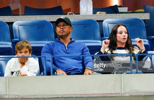 Tiger Woods son Charlie Axel Woods and Erica Herman cheer on Rafael Nadal at 2019 US Open in New York City
