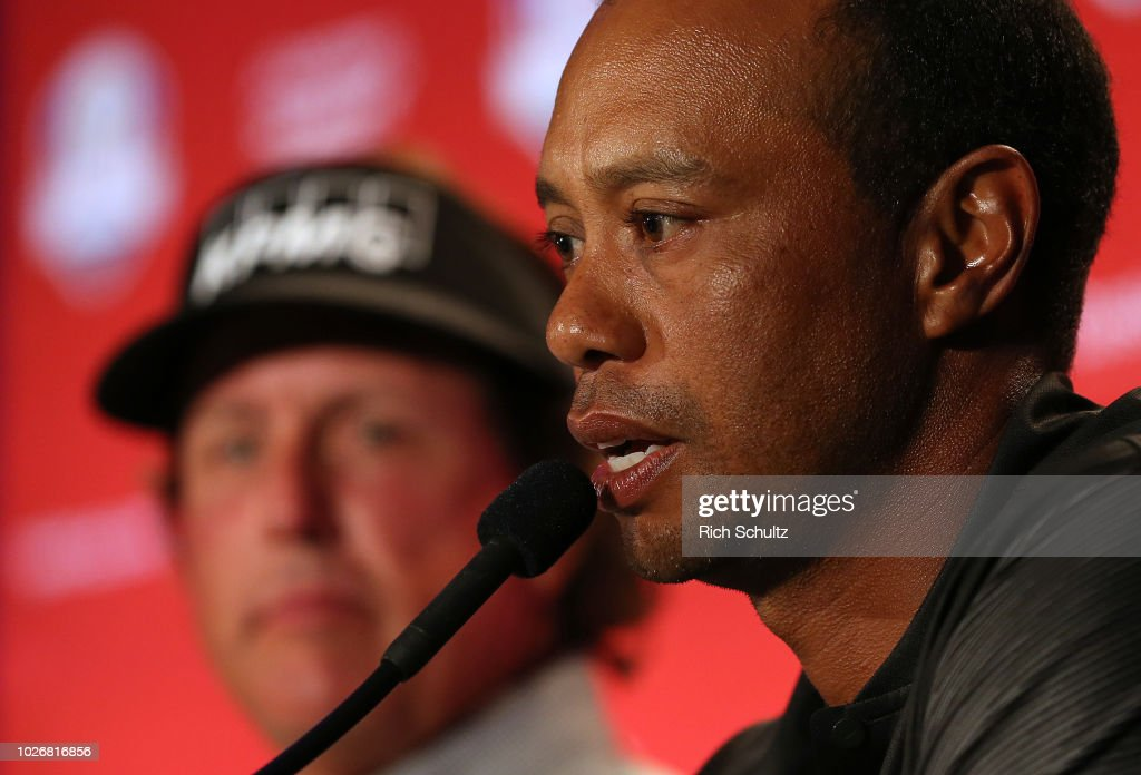 Tiger Woods speaks after being chosen along with Phil Mickelson (L) and Bryson DeChambeau as Captain's Picks by U.S. Ryder Cup Team Captain Jim Furyk for the 2018 team during a press conference at the Philadelphia Marriott West on September 4, 2018 in West Conshohocken, Pennsylvania.