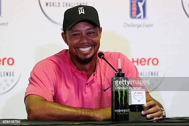Tiger Woods speaks at a press conference ahead of the Hero World Challenge at Albany, The Bahamas on November 29, 2016 in Nassau, Bahamas.