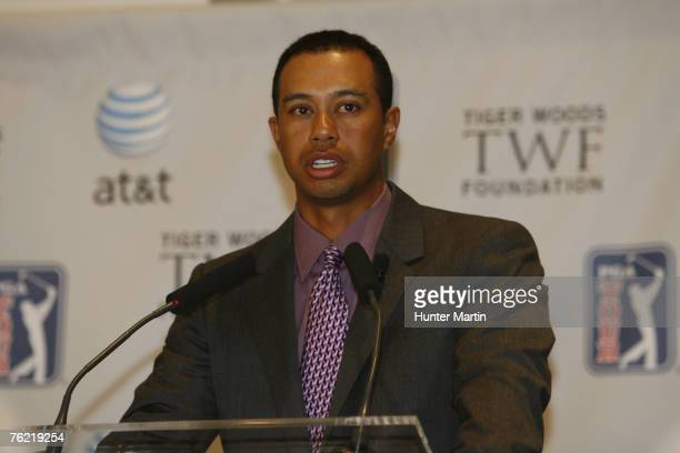 Tiger Woods speaks during a press conference as the Tiger Woods Foundation announces the New ATT National Tournament at the National Press Club in...