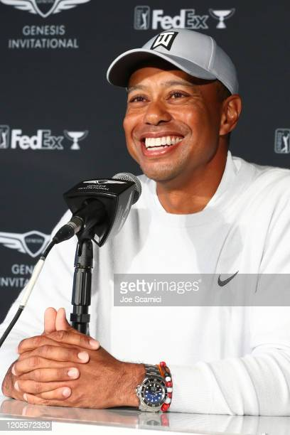 Tiger Woods speaks during a press conference during the Genesis Invitational Preview Day 2 on February 11 2020 in Pacific Palisades California