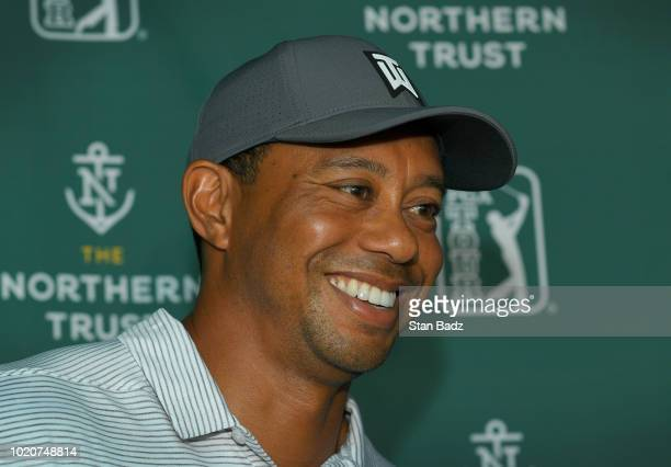 Tiger Woods speaks to the media prior to THE NORTHERN TRUST at Ridgewood Country Club on August 21 2018 in Paramus New Jersey