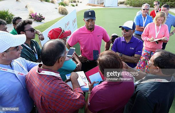 Tiger Woods speaks with the media ahead of the Hero World Challenge at Albany The Bahamas on November 29 2016 in Nassau Bahamas