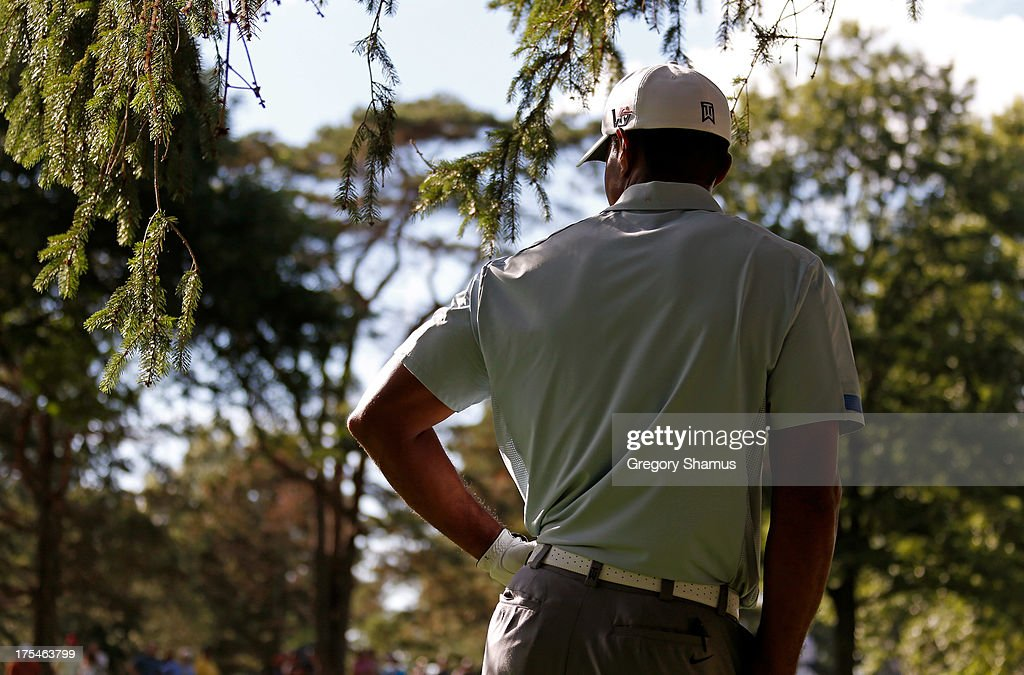 Tiger Woods stands under a tree in the rough on the 18th fairway during the Third Round of the World Golf Championships-Bridgestone Invitational at Firestone Country Club South Course on August 3, 2013 in Akron, Ohio.