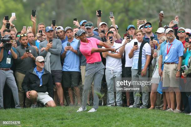 Tiger Woods swings hard to get the ball out of the rough along the 9th fairway during the third round of the Valspar Championship on March 10 at...