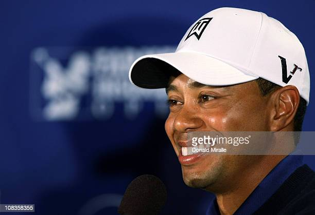 Tiger Woods takes questions at a press conference during the Pro-Am at the Farmers Insurance Open at Torrey Pines on January 26, 2011 in La Jolla,...