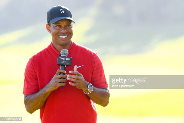 Tiger Woods talks during the trophy ceremony after the final round of The Genesis Invitational golf tournament at the Riviera Country Club in Pacific...
