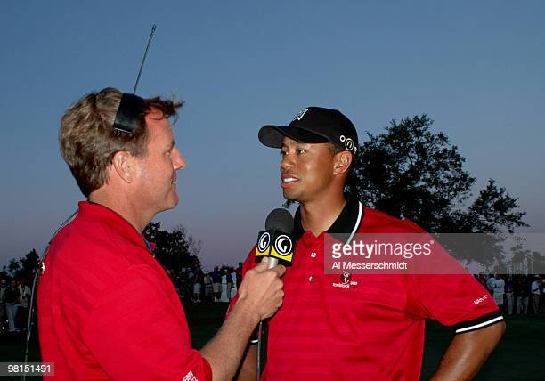 Tiger Woods talks to the golf channel after play in the 2005 Tavistock Cup at Isleworth Country Club March 29