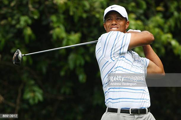 Tiger Woods tee off on the second hole during the third round of the 2009 Masters Tournament at Augusta National Golf Club on April 11, 2009 in...