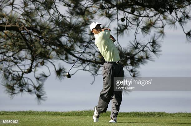 Tiger Woods teeing off during the second round of The Buick Invitational at Torrey Pines Golf Course La Jolla Calif January 21 2005