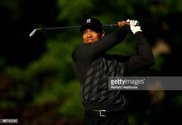Tiger Woods tee's off at the 13th during the first round of the Quail Hollow Championship at Quail Hollow Country Club on April 29 2010 in Charlotte...