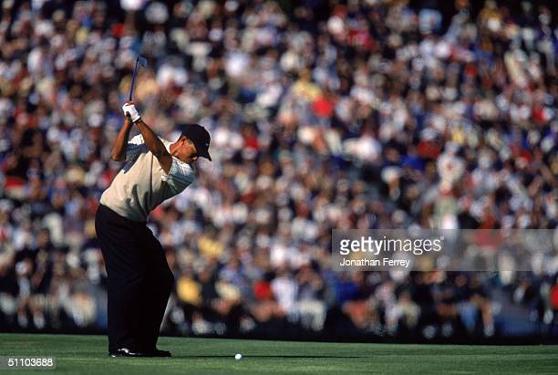Tiger Woods tees off during the 100th US Open at Pebble Beach Golf Links on June 16, 2000 Pebble Beach, California.