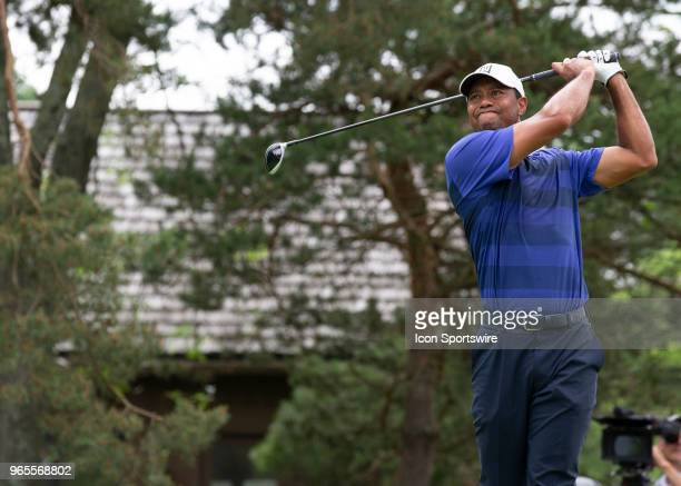 Tiger Woods tees off during the second round of the Memorial Tournament at Muirfield Village Golf Club in Dublin Ohio on June 01 2018