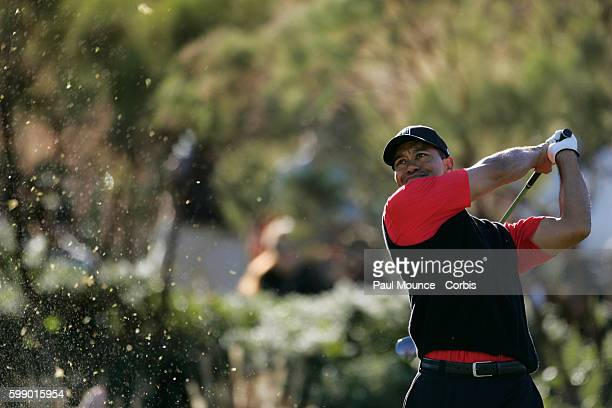 Tiger Woods tees off from the 16th hole during the final round at the Target World Challenge PGA golf Tournament held at the Sherwood Country Club.