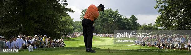 Tiger Woods tees off from the 7th during the first day of the ATT National at Congressional Country Club in Bethesda Maryland July 2 2009 AFP...
