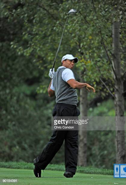 Tiger Woods tees off on during the second round of The Barclays at Liberty National Golf Club on August 28 2009 in Jersey City New Jersey
