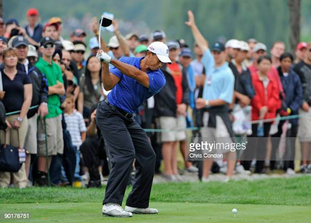 Tiger Woods tees off on during the third round of The Barclays at Liberty National Golf Club on August 29, 2009 in Jersey City, New Jersey.