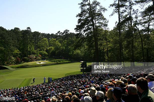 Tiger Woods tees off on the 12th hole during the third round of the 2007 Masters Tournament at Augusta National Golf Club on April 7 2007 in Augusta...