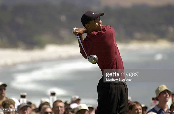 Tiger Woods tees off on the 14th hole during the final round of the 100th US Open on June 18,2000 in Pebble Beach, California.