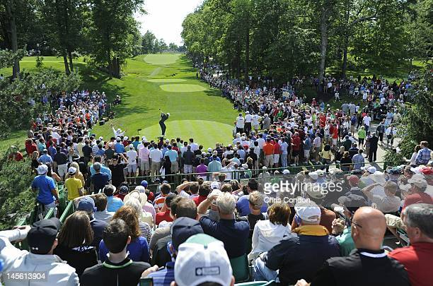Tiger Woods tees off on the 15th hole during the third round of the Memorial Tournament presented by Nationwide Insurance at Muirfield Village Golf...