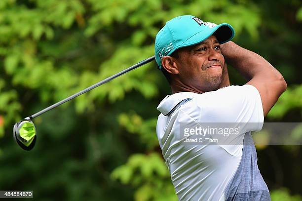 Tiger Woods tees off on the 2nd hole during the first round of the Wyndham Championship at Sedgefield Country Club on August 20 2015 in Greensboro...