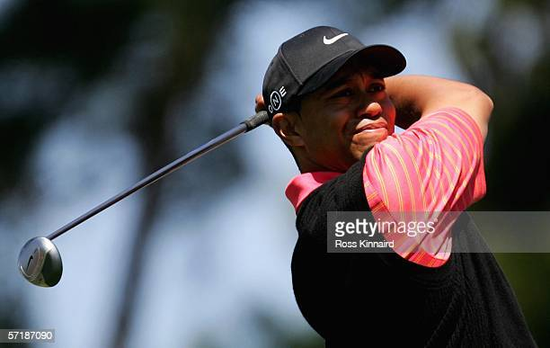 Tiger Woods tees off on the 4th hole during the final round of The Players Championship on the Stadium Course at the TPC Sawgrass on March 26, 2006...