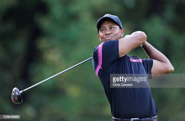 Tiger Woods tees off on the 5th hole during the first round of The Barclays at Ridgewood Country Club on August 26 2010 in Paramus New Jersey