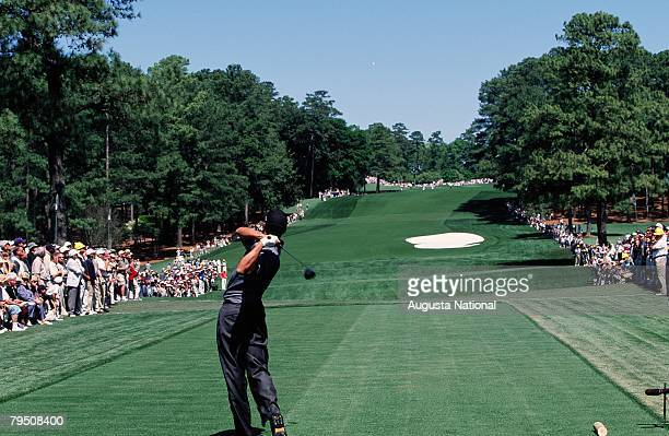 Tiger Woods Tees Off On The 8th Hole During The 2001 Masters Tournament