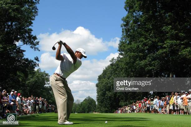 Tiger Woods tees off on the 9th hole during round two of the Buick Open at Warwick Hills Golf and Country Club on July 31 2009 in Grand Blanc Michigan