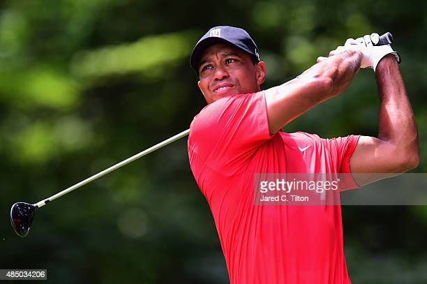 Tiger Woods tees off on the second hole during the final round of the Wyndham Championship at Sedgefield Country Club on August 23 2015 in Greensboro...
