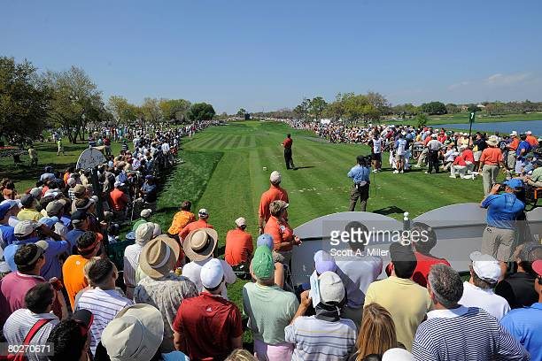Tiger Woods tees off on the seventh hole during the final round of the Arnold Palmer Invitational presented by MasterCard at Bay Hill Club Lodge...