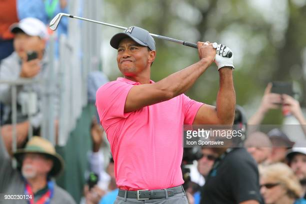 Tiger Woods tees off the 10th hole during the third round of the Valspar Championship on March 10 at Westin Innisbrook-Copperhead Course in Palm...