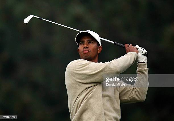 Tiger Woods tees off the 11th hole during the 3rd Round for the Buick Invitational on January 22, 2005 at Torrey Pines Golf Course in La Jolla,...