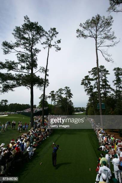 Tiger Woods tees off the 18th hole during the 1st Round of The Masters at the Augusta National Golf Club on April 6 2006 in Augusta Georgia