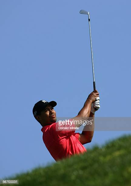 Tiger Woods tees off the 3rd hole en route to his sudden death victory over Jose Maria Olazabal of Spain in the final round of the Buick Invitational...