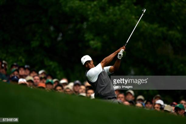 Tiger Woods tees off the 4th hole during the rain delayed 3rd Round of The Masters at the Augusta National Golf Club on April 8 2006 in Augusta...