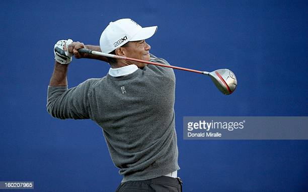 Tiger Woods tees off the 7th hole during the Final Round at the Farmers Insurance Open at Torrey Pines Golf Course on January 27 2013 in La Jolla...