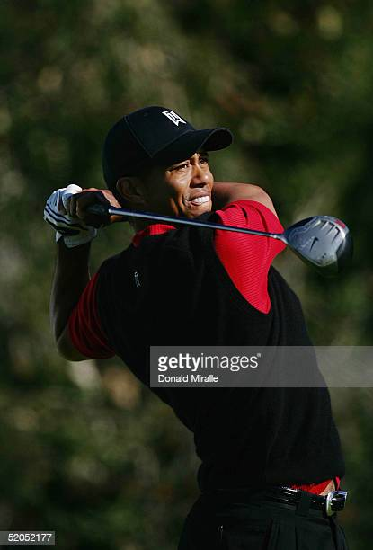 Tiger Woods tees off the 8th hole during the 3rd Round for the Buick Invitational on January 23, 2005 atTorrey Pines Golf Course in La Jolla,...